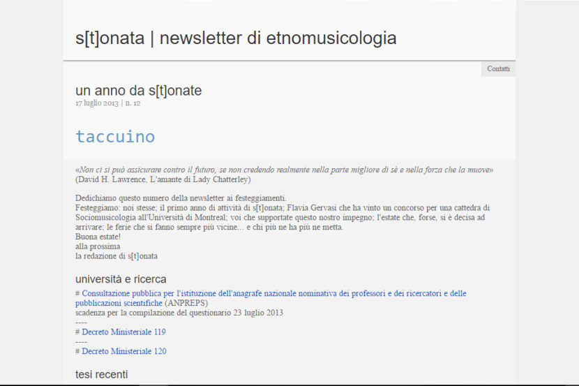 Stonata, newsletter di etnomusicologia - Maria Carmela Stella